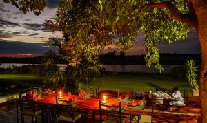 Thamalakane River Lodge decks and sunset