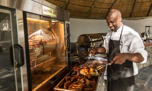 Boma area with buffet service at Thamalakane River Lodge